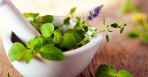 Herbs, pestel and mortar